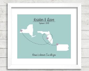 8x10 Usa Love Map Three States One Print Buffalo New York