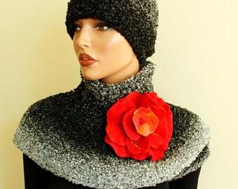 Red brooch felt Red rose felted Art flower  unique pin broach wool merino Flamenco style