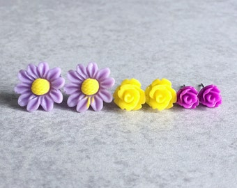 Violet · Lemon · Orchid // Floral Stud Earrings, Set of 3 - Daisies, Roses, Radiant Purples, Yellows, Silver Stud Posts, Bridesmaids Jewelry