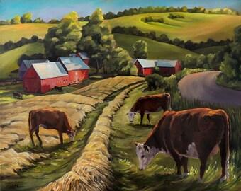 Vermont Going For The Green On Jenne Farm Framed Oil Painting
