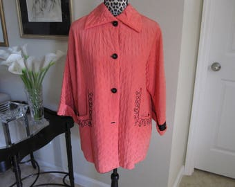 1940s Coral Embroidered QUILTED  BED JACKET
