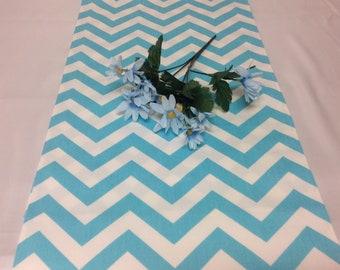 Handmade 13W x 36L  Table Runner in Girly Blue/White Chevron/Zig Zag Print, Home Decor