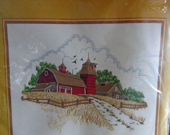 Sunset Vintage Country Barn Crewel Embroidery Stitch Kit 1977 Stitchery No 2481 NOS New Old Stock