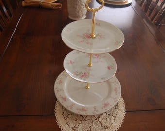 ROMANCE Pink Roses Tea Stand/Cake Stand/Appetizer Tray/Cupcake Stand,VINTAGE GORGEOUS, Gold trim, Birthdays, Tea Parties(P321)