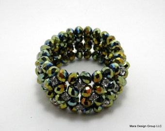 vintage glass beaded stretch bracelet