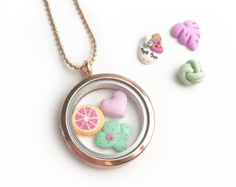 Rose Gold mix and match charm Floating Locket - beautiful handmade polymer clay jewellery by Clay & Clasp