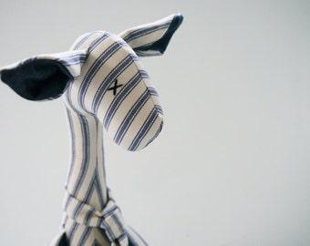 Giraffe Cuddly Toy Striped Fabric Softie Nursery Decor Quirky Stuffed Wild Animal Blue and Cream Ticking + Denim Handmade UK Seller