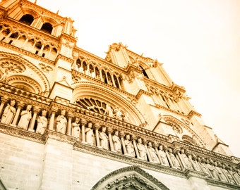 Paris Photography, Notre Dame, Orange Tones, Architectural, Fine Art, Church, Statues, Religous, Catholic, Travel Photography, Wall Art