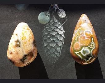 1 Ocean jasper tear drop stone #1