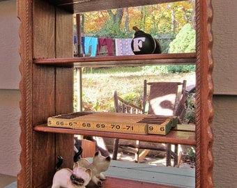 Vintage Wood Mirrored Curio Cabinet 3 Shelves Wall Hanging Display Shelf Nice!
