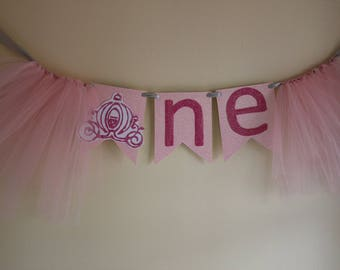 Cinderella princess ONE 1st birthday high chair banner