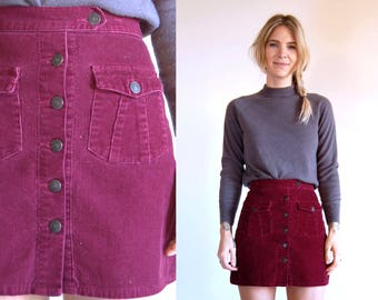 Vintage Skirt Corduroy Maroon Button Up Mini