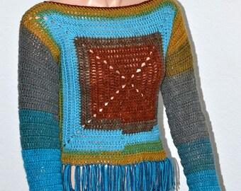 Sphinx Crochet Sweater/ Fringed Sphinx Sweater/ Boho Festive Sweater/ Small/ Medium Sweater