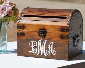 Monogrammed Card Box, Rustic Wedding Card Holder With Slot, Bridal Shower Card Keeper, Wedding Keepsake Trunk, Shabby Chic Wedding Decor
