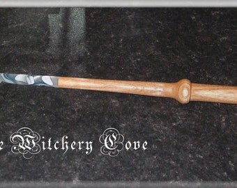 Handcrafted Oak Wooden Ritual Wand with Tip - One-Off - Made in Scotland - (31) - Winter's Joy