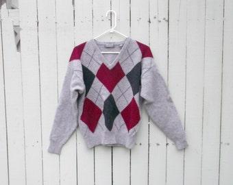 Vintage Preppy Lord & Taylor Gray Argyle Wool Sweater szM
