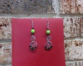 Long Spiral Earring in Green, Black and Silver