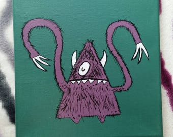 Crazy arm purple monster 8x10 painting