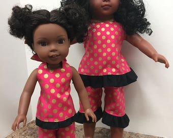"2  Piece Hot Pink with Gold Dots and Black Ruffles Halter Top and Capris Set for14.5 and/or 18"" Doll - Boutique American Made Girl Doll"