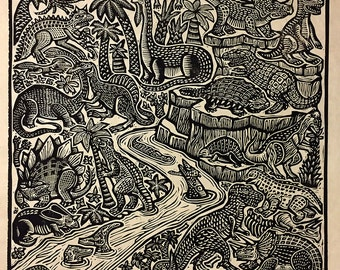 The Age of Dinosaurs Block Print
