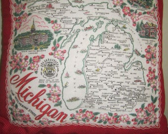 Michigan State Pillow Vintage Michigan State Hankie 18 Inch Pillow Red Polka Dot fabric Made in California One of a Kind