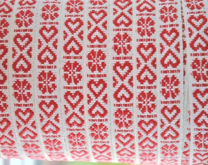 Swedish Folk Art Ribbon Red & White Hearts Scandinavian Hand Woven Per Yard