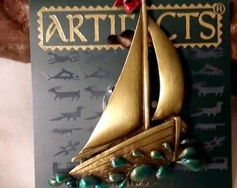 JJ Artifacts Brass Enamel Sailboat Brooch/Pin with Splash of Water NOS 1988