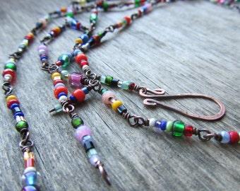 Long boho necklace Colorful boho necklace Long chain necklace Oxidized copper necklace Colorful boho chic jewelry Boho MADE TO ORDER