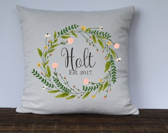Farmhouse Watercolor Personalized Wreath Pillow Cover, Pink Floral Watercolor, Wedding Gift, Anniversary Gift, Housewarming gift,