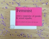 Feminist Definition Funny Postcard Art Print Bookmark Gift Limited Stock