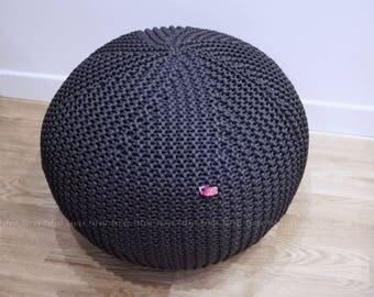 Stone Grey Pouf | Knit Pouf | Outdoor floor cushion | Outdoor Pouf Ottoman | Footstool | Floor Pouf | Pouffe | Bean Bag | Meditation cushion