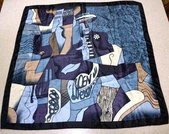 Vintage Picasso Art Scarf High Fashion HUGE Silk