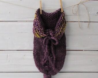 Newborn Hand Knit Cocoon Baby Photo Prop Plum Baby Cocoon