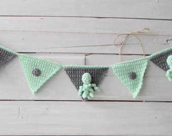 Nursery Decoration Banner Decoration Baby Octopus Decorationg Gray and Mint Decoration