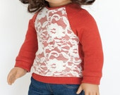 American Girl Doll sized piccadilly shirt - burnt orange with cream lace