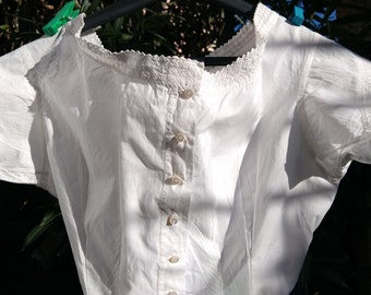 Victorian White Corset Top Eyelet Lace Trim Curved Mother of Pearl Bead Buttons French Cotton Small Clothing Costume #sophieladydeparis
