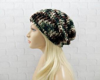 Green Camo Slouch Hat, Womens Hat, Slouchy Winter Hat, Slouchy Beanie, Oversized Hat, Slouch Beanie, Vegan Beanie, Crochet Beanie Hat