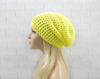 Neon Yellow Beanie, Crochet Slouch Hat, Oversized Hat, Slouchy Winter Hat, Skater Hat, Slouchy Beanie, Crochet Beanie Hat, Vegan Beanie