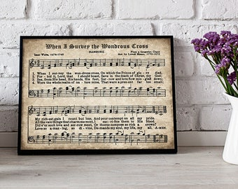 When I Survey the Wondrous Cross Print, Printable Vintage Sheet Music, Instant Download, Antique Hymn, Hymnal Page, Inspirational Art