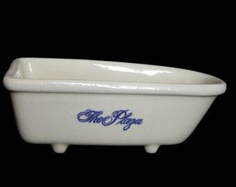 Vintage 80s The New York Plaza Hotel 75th Anniversary Blue White Bathtub Bath Tub Claw Foot Soap Dish Ceramic Pottery