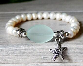 Freshwater Pearl Bracelet, Sea Glass Jewelry, Pearl Jewelry, Starfish Charm Bracelet, Ocean Bracelet, Beach Bracelet, Nature Jewerly