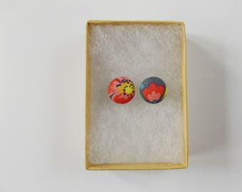 Fabric button earrings, pink and grey floral earrings