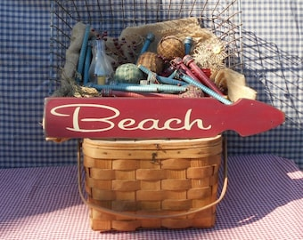 """Beach direction arrow painted wood sign 3.5"""" x 22"""" choice of color"""