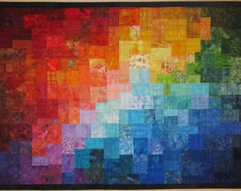 Art Quilt Multi Mosaic 11, Wall Quilts, Wall Hanging, Modern quilt