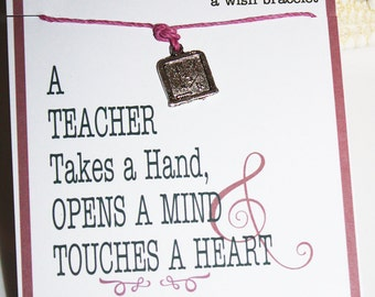 Teacher Wish Bracelets ... You Choose Charm ... Great for Holiday Gifts, Inspirational, Thank You Gifts