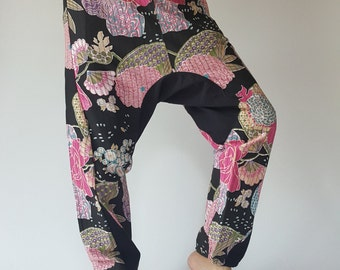 HC0145 Elastic Wrist Handmade Unisex Pants,Unique Fabric with 2 sides open pockets