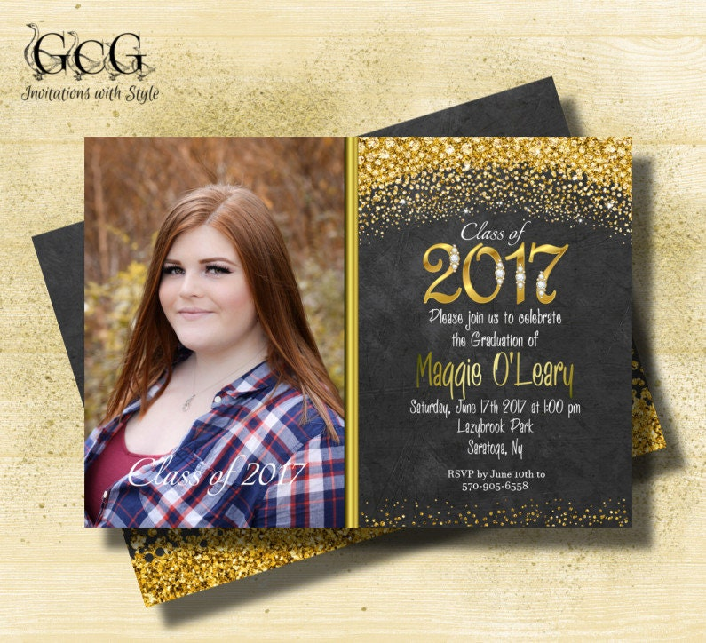 Glitter Graduation invitations Black and Gold Graduation