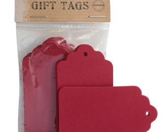 Red Gift Hang Tag  Scallop Gift Label Blank Design