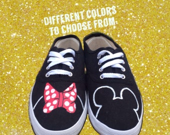 Minnie Mouse Disney Shoes [MICKEY mouse shoes] Disney World Shoes. Painted Disney Shoes. Minnie Mouse Bow Shoes. Simple Disney