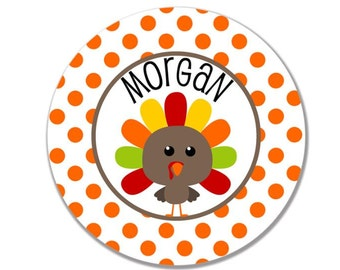 "personalized melamine plate kids 10"" Thanksgiving turkey"